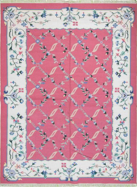 Flat Weave India Dhurrie 9' x 12' Pink DK