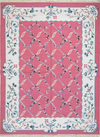 Flat Weave India Dhurrie 9' x 12' Pink DK