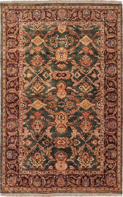 """Hand Made India Sultanabad 5'11"""" x 9' Green DK"""