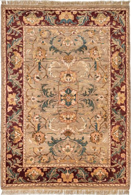 """Hand Made India Agra 4'9"""" x 7' Brown LT"""
