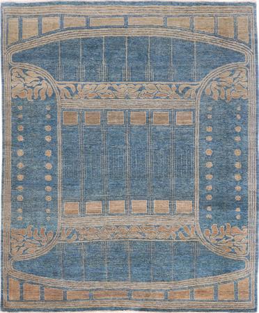 "Hand Made Pakistan Transitional 8' x 9'9"" Blue Rug"
