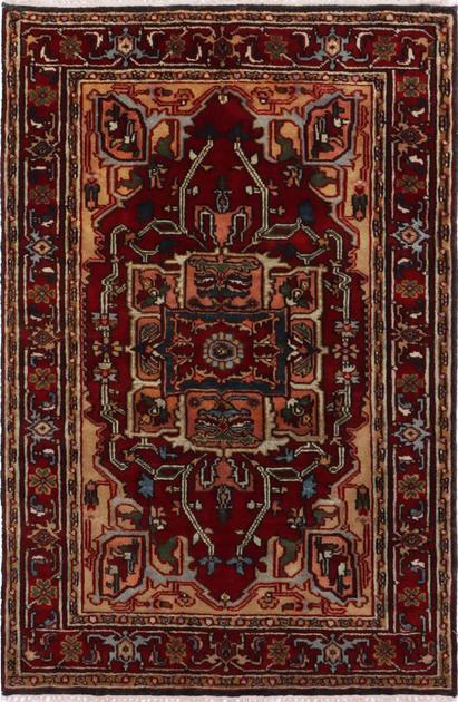 Hand Made India Serapi 4' x 6' Red
