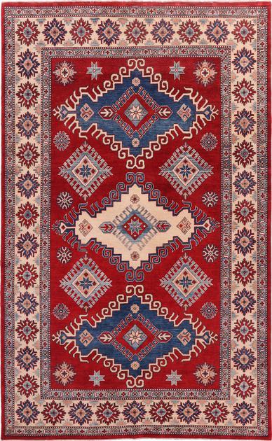 "Hand Made Pakistan Kazak 6'3"" x 10' Red"