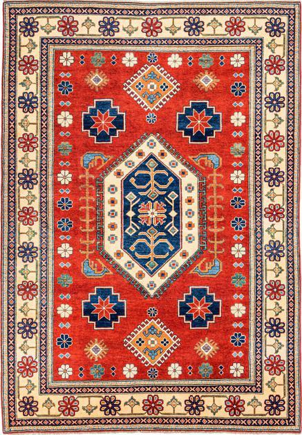 "Hand Made Pakistan Kazak 6'2"" x 8'10"" Red"