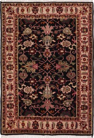 Hand Made India Mahal 4' x 6' Black