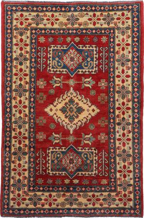 "Hand Made Afghanistan Kazak 3'8"" x 5'5"" Orange DK"