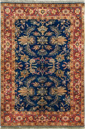 Hand Made India Agra 4' x 6' Blue
