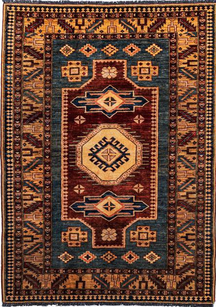 "Hand Made Pakistan Kazak 4'10"" x 6'10"" Blue"