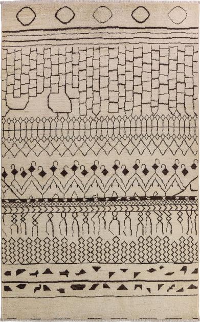 "Hand Made Pakistan Moroccan 6' x 9'6"" Ivory"