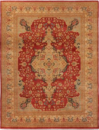 "Hand Made Pakistan Mogul 9'2"" x 12' Orange DK"