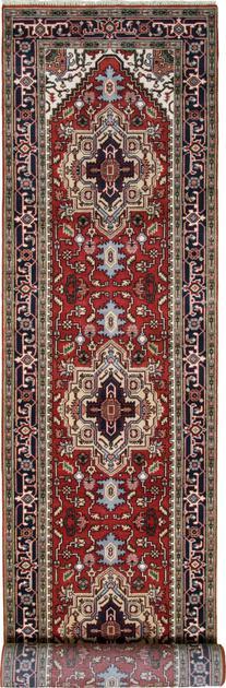 Hand Made India Serapi 4' x 24' Red DK