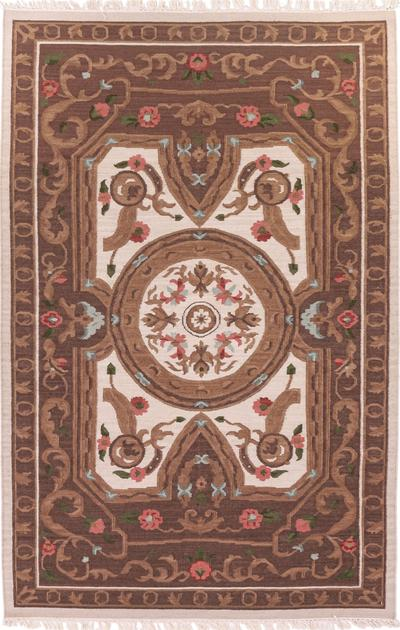 "Hand Made India Savonnerie 5'4"" x 8'2"" Tan"