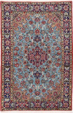 "Hand Knotted Iran Qum 4'5"" x 6'8"" Blue LT"