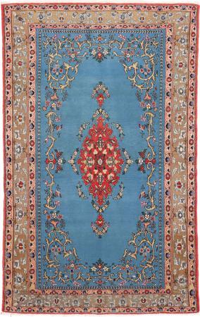 "Hand Knotted Iran Qum 4'5"" x 7' Blue LT"