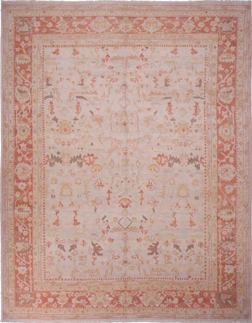 "Hand Made India Oushak 12'5"" x 15'9"" Beige"