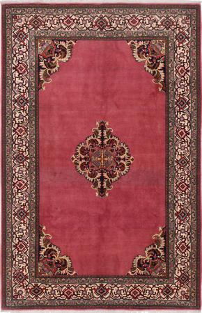 """Hand Knotted Iran Qum 5'4"""" x 7'9"""" Red"""