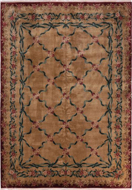 "Hand Made India Aubusson 10'3"" x 14' Beige"