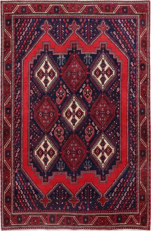 """Hand Knotted Iran Sirjan 4'4"""" x 7'4"""" Red"""