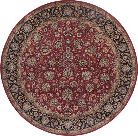"Hand Made India Mashad 7'10"" x 7'10"" Red"