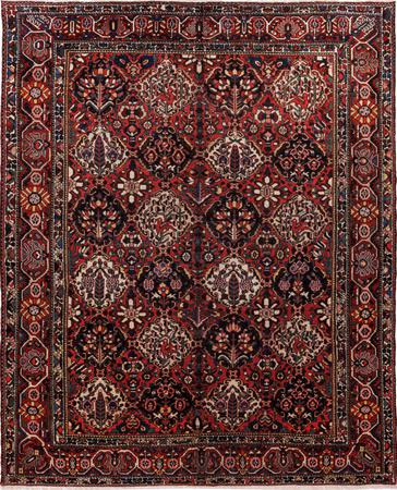 "Hand Knotted Iran Bakhtiari 10'4"" x 13' Red DK"