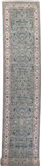 "Hand Made India Kashan 2'6"" x 16'4"" Green LT"
