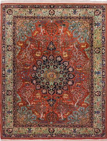 "Hand Knotted Iran Tabriz 7'2"" x 9' Orange"