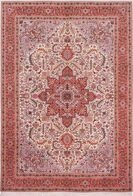 "Hand Knotted Iran Tabriz 6'8"" x 9'8"" Ivory"