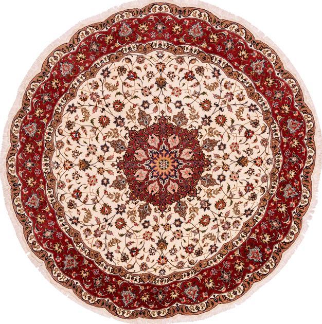 "Hand Knotted Iran Tabriz 6'8"" x 6'8"" Ivory"