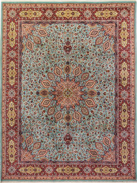 """Hand Knotted Iran Tabriz 8'2"""" x 11' Blue LT"""