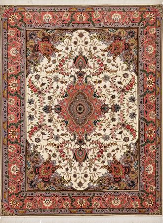 """Hand Knotted Iran Tabriz 4'10"""" x 6'5"""" Beige"""