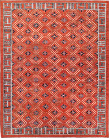 "Hand Made Afghanistan Gabbeh 6'3"" x 9'3"" Orange Rug"