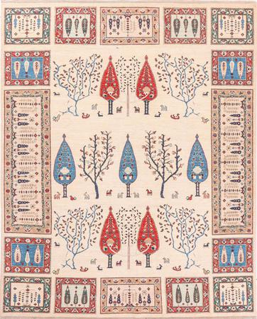 "Hand Made Afghanistan Gabbeh 8' x 9'11"" Ivory Rug"