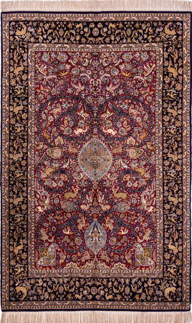"""Hand Knotted Iran Isfahan 5'2"""" x 8'2"""" Red"""