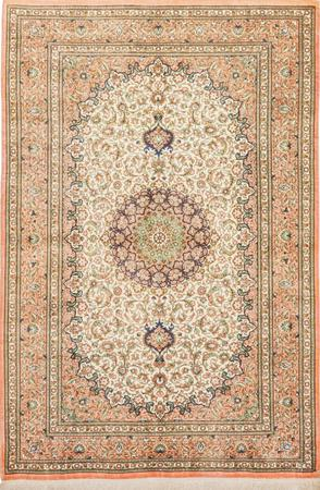 "Hand Knotted Iran Qum 3'4"" x 5'3"" Ivory"