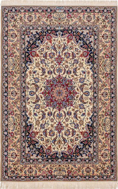 """Hand Knotted Iran Isfahan 5'2"""" x 7'10"""" Ivory"""