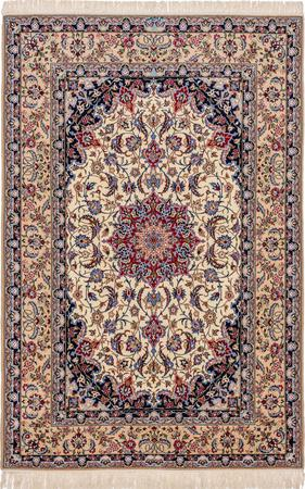 "Hand Knotted Iran Isfahan 5'2"" x 7'10"" Ivory"
