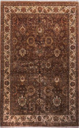 """Hand Made India Agra 11'9"""" x 17' Brown Rug"""