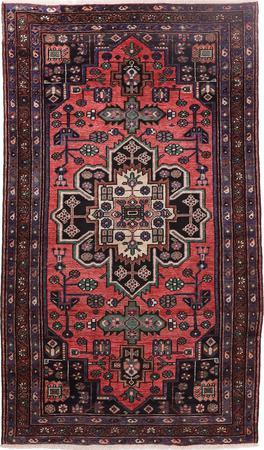 """Hand Knotted Iran Zanjan 4' x 6'7"""" Red LT"""