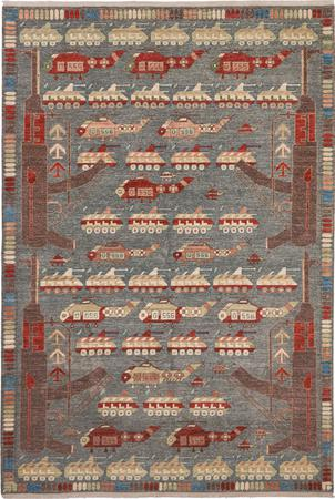 "Hand Made Afghanistan War rug 6'7"" x 9'8"" Multi Rug"