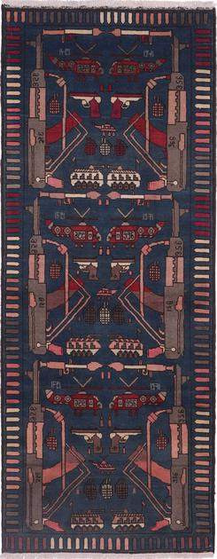 "Hand Made Afghanistan War rug 3' x 7'8"" Blue"