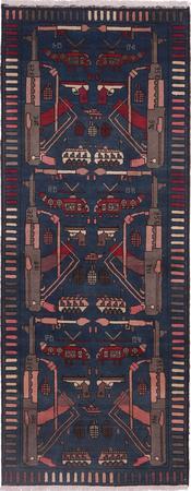 "Hand Made Afghanistan War rug 3' x 7'8"" Blue Rug"