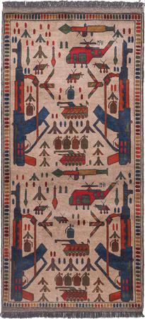 "Hand Made Afghanistan War rug 3' x 6'2"" Tan Rug"