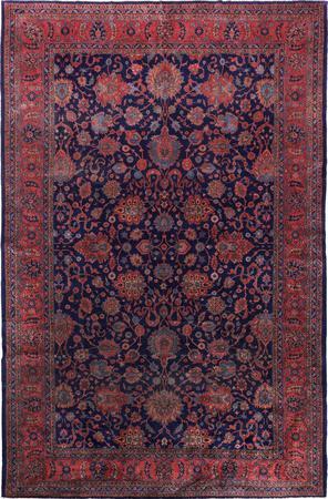 "Hand Made Turkey Mahal 12' x 16'7"" Blue Rug"