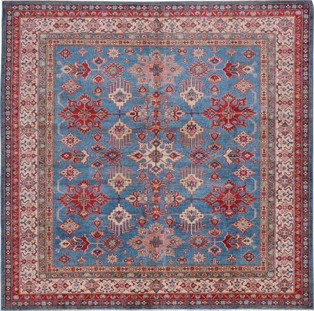 "Hand Knotted Afghanistan Super Kazak 8' x 8'2"" Blue"