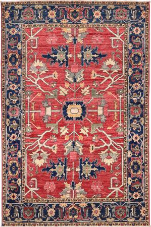 """Hand Knotted Pakistan Aryana 4' x 6'3"""" Red"""