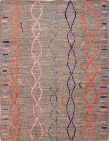 """Hand Knotted Afghanistan Moroccan 9'3"""" x 11'11"""" Brown"""