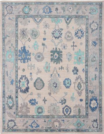 """Hand Knotted Afghanistan Oushak 9'2"""" x 11'7"""" Tan"""