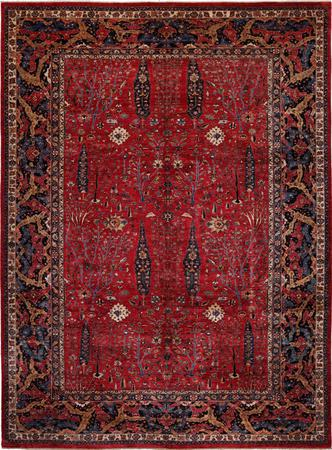 """Hand Knotted Afghanistan Faryab 9'8"""" x 13'2"""" Red"""