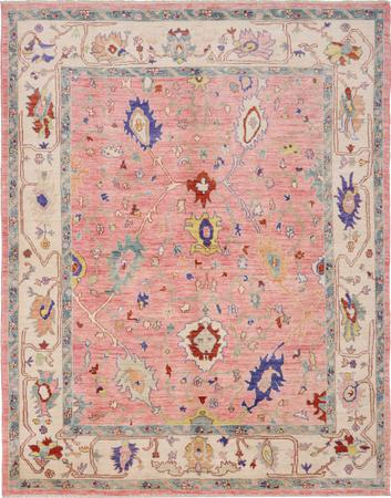 """Hand Knotted Afghanistan Oushak 8'3"""" x 9'9"""" Coral"""