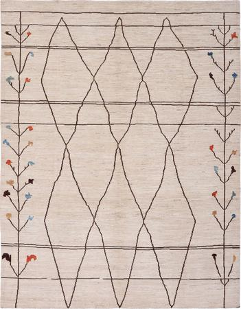 """Hand Knotted Afghanistan Moroccan 8'3"""" x 10'7"""" Beige"""